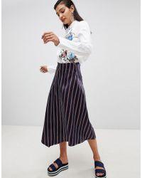 Sportmax Code - Midi Wrap Skirt In Stripe - Lyst