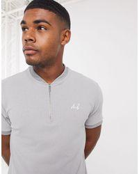 Burton Mb Collection Baseball Zip-neck Ribbed T-shirt - Grey