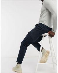 River Island Twill Cuffed Cargo Pants - Blue