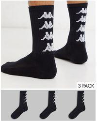 Kappa Authentic Amal 3 Pack Logo Socks - Black