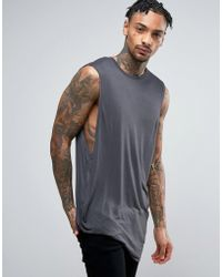 ASOS Super Longline Sleeveless T-shirt In Bamboo Fabric With Hitched Hem - Grey