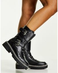 Truffle Collection Черные Ботинки Со Шнуровкой, Пряжками И Цепочкой На Подошве -черный Цвет