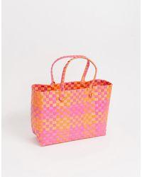 South Beach Плетеная Сумка-тоут Розового И Оранжевого Цвета - Многоцветный
