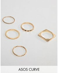 ASOS - Asos Design Curve Pack Of 5 Rings In Engraved And Cut Out Square Design In Gold - Lyst
