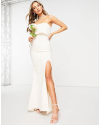 Jarlo Bandeau Overlay Maxi Dress With Thigh Split - White