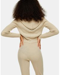 TOPSHOP Stone Knitted Hoodie - Natural