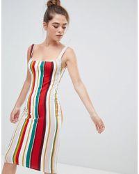 Bershka - Stripe Bodycon Dress In Multi - Lyst