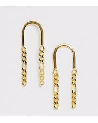 ASOS Boucles d'oreilles en argent massif plaqué or avec franges en chaîne - Métallisé