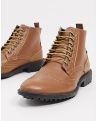 Brave Soul Lace Up Brogue Boots - Brown