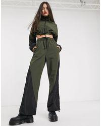 Collusion Nylon Wide Leg Track Trousers - Green