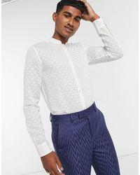 ASOS Kurta Jacquard Regular Fit Shirt With Mandarin Collar - Natural