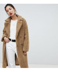NA-KD Big Collar Teddy Coat In Brown