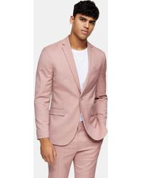TOPMAN – Schmale Anzugjacke mit spitzem Revers - Pink
