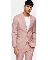 TOPMAN Giacca da abito slim con rever a lancia rosa