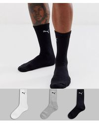 PUMA - Lot de 3 paires de chaussettes - Noir/blanc/gris - Lyst