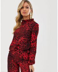 AX Paris Блузка С Длинными Рукавами И Звериным Принтом -красный