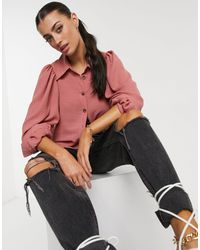 ASOS Batwing Blouse With Horn Buttons - Pink