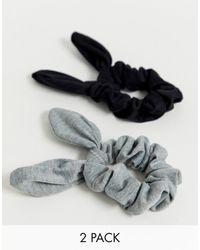ASOS Набор Из 2 Резинок Для Волос Черного И Серого Цвета С Бантиками - Многоцветный