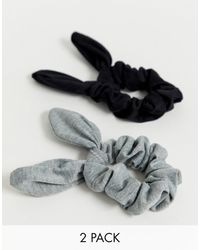 ASOS Pack Of 2 Scrunchie Hair Ties With Bow Detail In Black And Grey - Multicolour