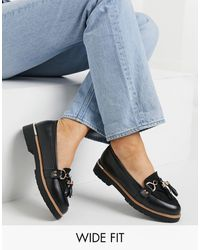 Truffle Collection Wide Fit Tassel Loafers - Black