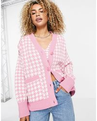 TOPSHOP Knitted Houndstooth Cardi - Pink