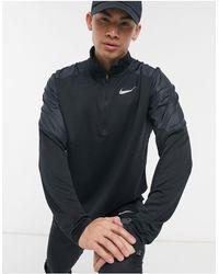 Nike Черный Комбинированный Топ С Короткой Молнией Pacer-черный Цвет