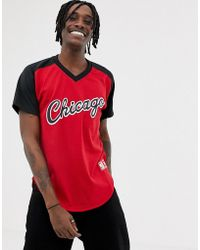 Mitchell & Ness - Chicago Bulls Mesh V-neck T-shirt In Red - Lyst