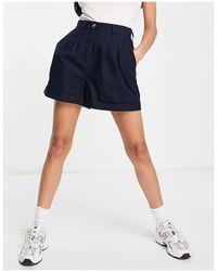 ASOS Pleated Front Linen Wide Leg Shorts - Blue