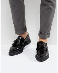ASOS Loafers In Black Leather With Creeper Sole