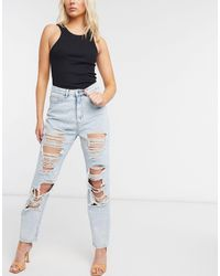 Missguided Light Blue Wash Vintage Distress Mom Jeans