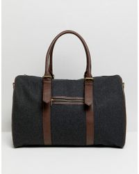 ASOS Carryall In Melton With Faux Leather Trims - Gray