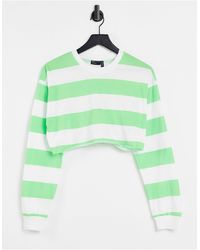 ASOS Super Crop Tee With Long Sleeve Cuff Detail And Contrast Stitch - Green