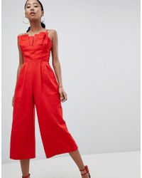 b4c96c121c ASOS - Structured Jumpsuit With Culotte Leg And Pleated Bodice - Lyst