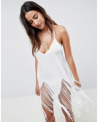 ASOS - Macrame Fringe Beach Cover Up - Lyst