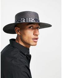 ASOS Cappello di paglia Pork Pie regolabile a tesa larga nero con fascia con stampa cachemire