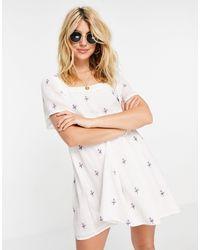 Pull&Bear Floral Mini Smock Dress - White