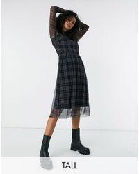 Y.A.S - Y.a.s. Tall Juta Mesh High Neck Check Dress - Lyst