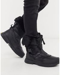 UGG Водонепроницаемые Кожаные Ботинки С Подкладкой -черный Цвет