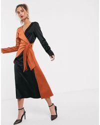 UNIQUE21 Контрастное Атласное Платье С Запахом -черный