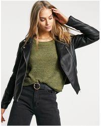 Vila Leather Look Jacket - Black