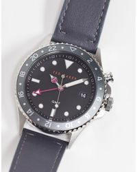 Ted Baker Часы Из Нержавеющей Стали С Кожаным Ремешком -серый