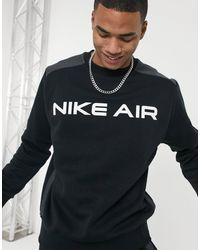 Nike Sudadera negra con cuello redondo Air - Negro