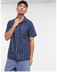 Tommy Hilfiger Camp - Camicia a maniche corte bianca a righe vestibilità classica con colletto a rever - Blu