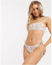 Fashion Union Esclusiva Exclusive - Top bikini a corpetto con motivo vintage a fiori e pinces - Multicolore