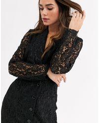 UNIQUE21 Lace Blazer Dress - Black