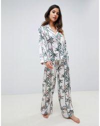 ASOS - Monkey Print Double Breasted Shirt And Pant Pyjama Set - Lyst