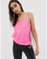ASOS Sequin Cami With V Neck In Neon - Pink