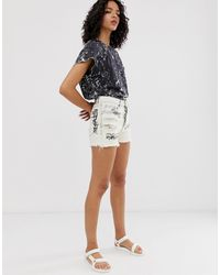 Cheap Monday Organic Cotton Relaxed Shorts With Graphic - White
