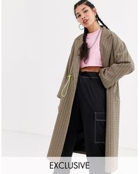 Collusion Check Trench Coat With Drawcord Detail - Multicolor