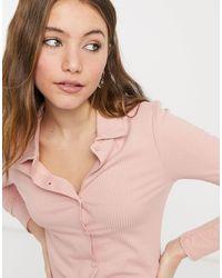 New Look - Светло-розовая Футболка С Воротником И Сквозной Застежкой На Пуговицы -розовый Цвет - Lyst